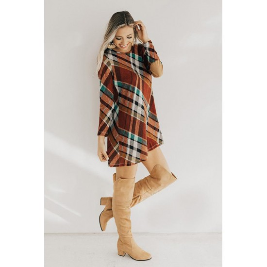 Plaid Round Neck Long Sleeve Mini Dress