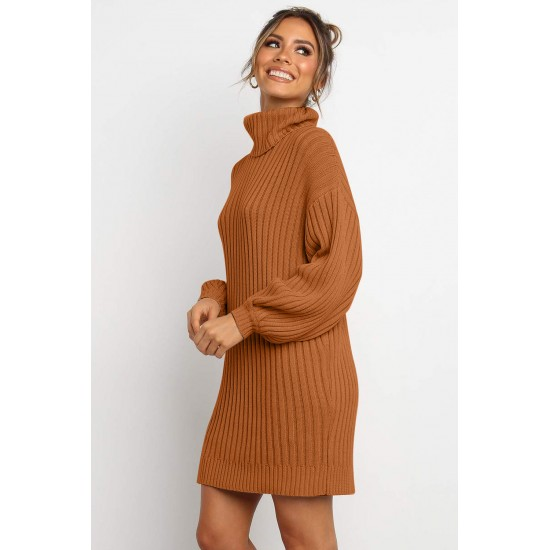 Brown Turtleneck Balloon Sleeve Sweater Dress